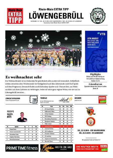 Löwengebrüll, 14. und 15. Heimspiel vom 22.12.2019