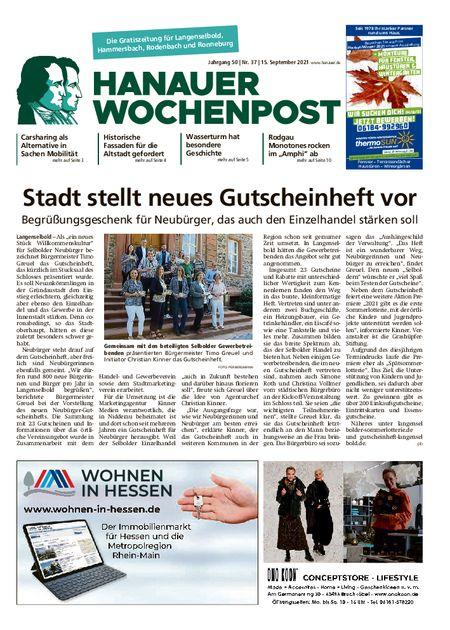 Hanauer Wochenpost Ost vom 15.09.2021